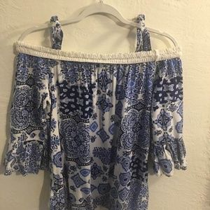 Live and Let Live Off Shoulder Top Small Blouse